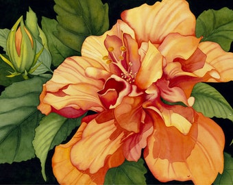 Watercolor painting...GOLDEN SPLENDOR...hibiscus...giclee