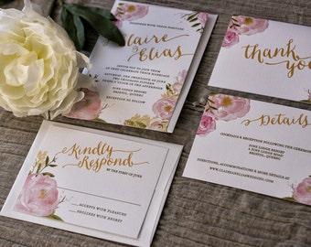 SAMPLE Spring Watercolor Floral Wedding Invitation Suite on Linen