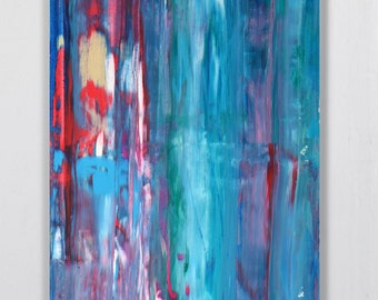 """Abstract Original painting Colorful painting  Acrylic painting  """"Blue Composition"""" 36H x 24W from Art Factory Gallery"""