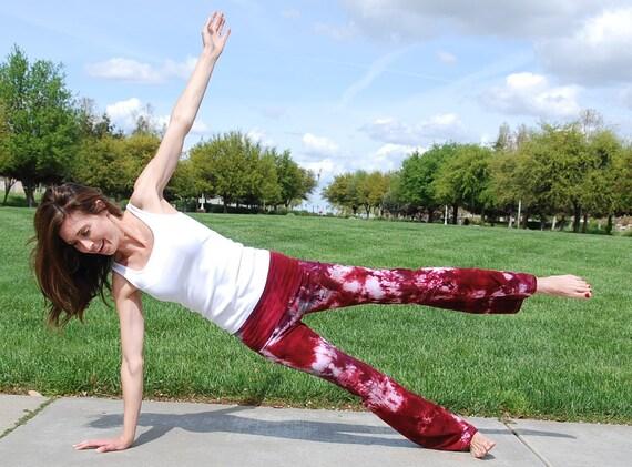 Silver Merlot Burgundy Tie Dye Yoga Pants by Splash Dye Activewear