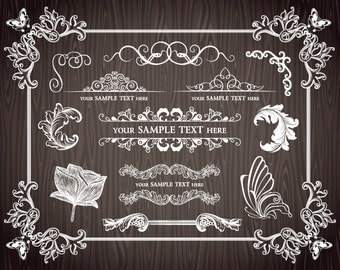 Instant Download Chalkboard Frame Border ClipArt Chalkboard Digital Frame Clip Art Frame Border Decor Element Scrapbook Embellishment 0033