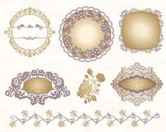 Gold & Silver Digital Frame Border Clip Art Gold Flower Flourish Swirl Frame Border Clip Art Scrapbook Embellishment Wedding Invitation 0092