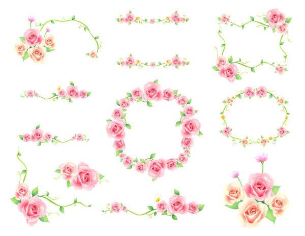Digital Flower Frame Clipart Pink Frame Clip Art Pink Floral