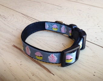 3/4 Wide 8-12 Adjustable Blue Ribbon with Cupcakes Dog Collar