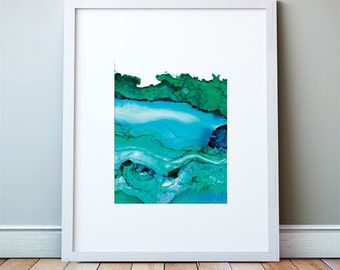 Undercurrent, Ventura, CA; Green and Blue Ink: Large Art Print, Ocean Art, Abstract Watercolor