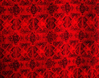 Printed Jackquard Weaving Look(Red)-Rayon Hand Printed-Fabric1980s-sell by yard-multi crafts purpose-clothing- dress- bag-table cloth-1y80cm