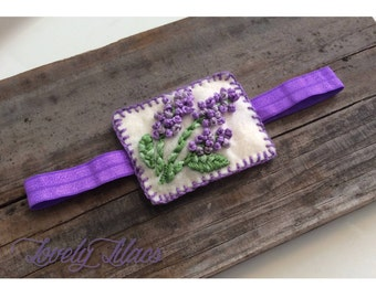 Lovely Lilacs Embroidered Felt Baby Headband
