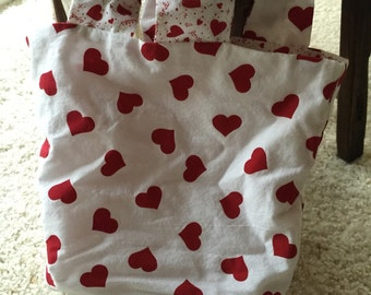 Reversible Reusable Heart Tote