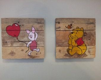 Wood-burned and Painted custom cartoon wall art on reclaimed wood