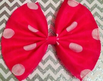 Pink Polka Dot Handmade Hair bow