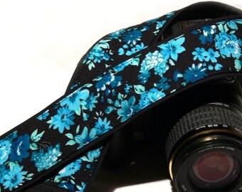 Flowers Camera Strap. Canon Nikon Camera Strap. Black and Blue Camera Strap. Photo Camera Accessories