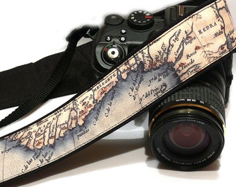 Vintage Map Camera Strap. Photo camera Accessories. SLR, DSLR Camera Strap. Gift For Photographer.
