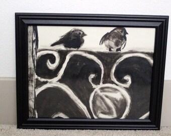 Original framed birds on a fence painting - Sale!
