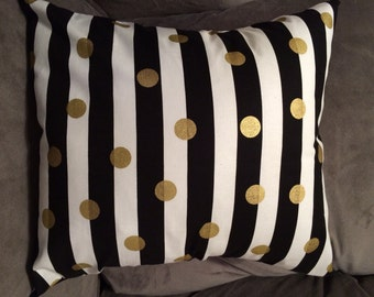 Gold, Black, White, Throw Pillow Cover, Modern Pillows, Living room decor