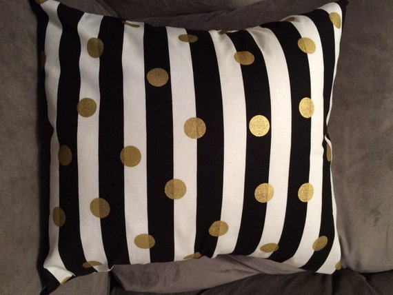 Black White And Gold Throw Pillows : Gold Black White Throw Pillow Cover Modern Pillows Living
