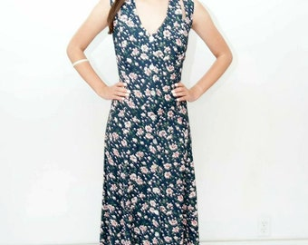 90's ditsy floral full-legnth button down dress