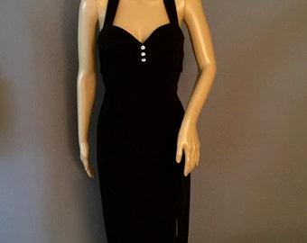 70's 2 Piece Tuxedo Halter Gown     VG31