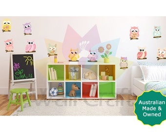 Owl Wall Decals Owl Wall Stickers Patterned Owls Sticker Set Owl bird wall art fabric wall stickers nursery decals