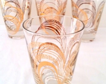 Vintage Signed Gay Fad Glasses with Gold Gild Design Hollywood Regency - Set of 4 Replacement Glassware Barware