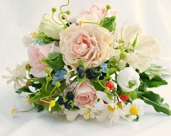 Wedding bouquet, cold porcelain, bridal bouquet, wedding flowers,wedding flower bouquet, flower bride, rustic style, rustic wedding, rustic