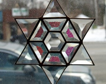 Stained Glass Dichroic Bevel Six Pointed Star