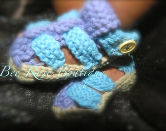 knitted baby sandals ANY COLOR, baby girl sandals, baby boy sandals, baby girl booties, baby boy booties, newborn booties, newborn sandals