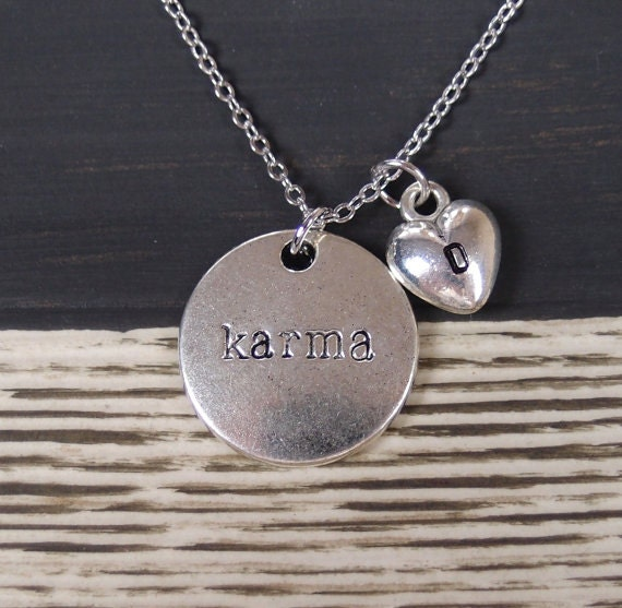 initial necklace karma necklace necklace option silver