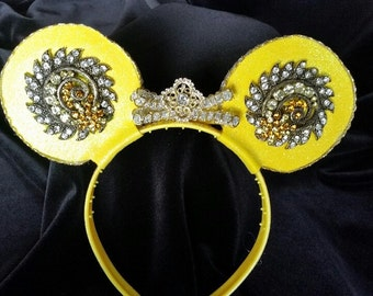 Yellow Bling Mouse Ear Headband