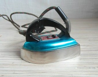 Vintage Soviet Mini Electric Travel Iron Blue Iron Russian Home Decor Made in USSR 60s