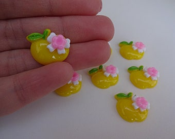 8 yellow apples food resin flatback decoden cabochons 17x14mm Kawaii embellishments scrapbook DIY phone hairbow centre clip pin