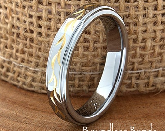 Golden Life Tungsten Wedding Band Ring Stepped Polished Customized Tungsten Band Any Design Laser Engraved Ring Mens Tungsten Ring 4.5mm New