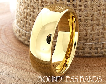 Gold Tungsten Wedding Band Domed High Polished Customized Tungsten Ring Mens Tungsten Band Anniversary Ring Traditional Wedding Ring 7mm