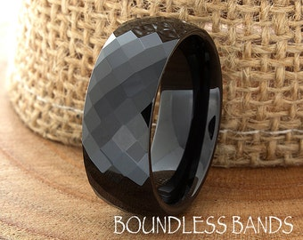 Black Tungsten Wedding Ring Faceted Diamond Cut High Polished 8mm His Hers Black Mens Women Ring Custom Engraved Anniversary Ring New Design