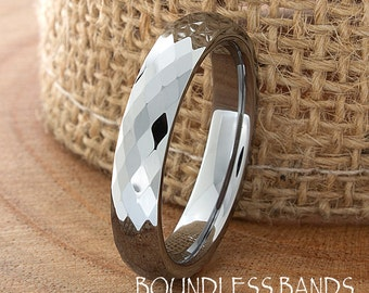 Faceted Tungsten Wedding Band High Polished Domed 4mm Custom Engraved Tungsten Anniversary Couple Wedding Ring His Hers Personalized Band