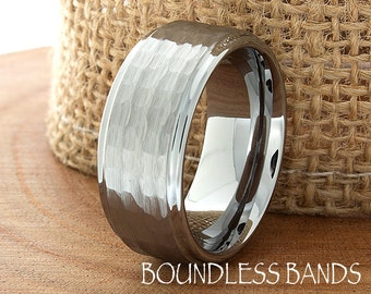 Hammered Tungsten Wedding Band Stepped Edges Brushed Custom Laser Engraved Tungsten Ring 9mm Anniversary Ring His Hers Couple Wedding Ring