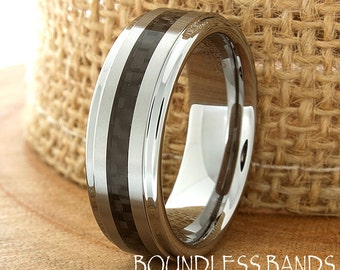 Black Carbon Fiber Tungsten Wedding Ring Mens Womens Band Laser Engraved Ring For Him Personalized New Design Ring Black Carbon Fiber Band