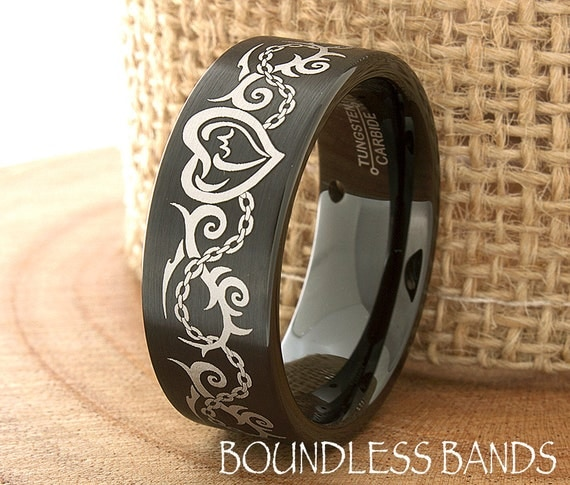 wedding band ring mens tungsten ring tattoo by boundlessbands