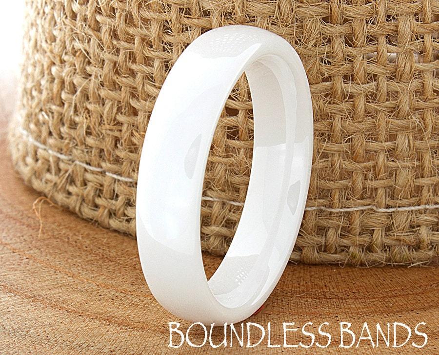Ceramic Wedding Ring Mens Wedding Band White Ceramic Band