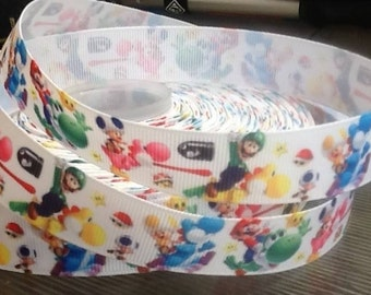"Lot of 2 Metres of 7/8"" Grossgrain Ribbon - Super Mario Bros #2 - For Craft"