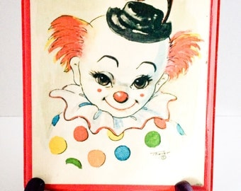 Vintage petite clown plaque by Thayer