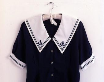 80's Navy Blue Sailor Blouse Size M