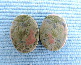 Lovely paired cabochons of Unakite for earrings