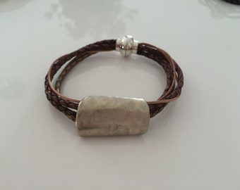 Leather Bracelet with different leather straps and chiselled spoon, magnetic clasp
