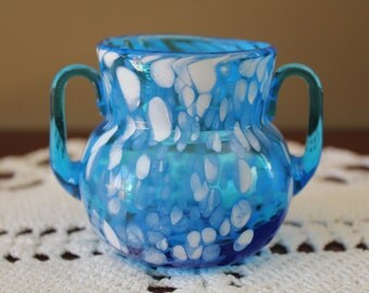 Blue and White Blown Glass Vase