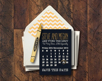 Personalised Calender Style Save The Date Card x 10