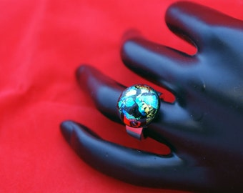 Ring,Size 6,Dichroic Glass Ring,Statement Ring,Dichroic Stone Ring,Shiny Ring,Fused Glass Jewelry,SR032315001