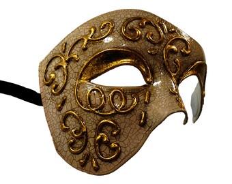 Phantom Masquerade Mask Baige/Gold