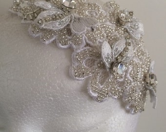 White Beaded Headpiece Fascinator