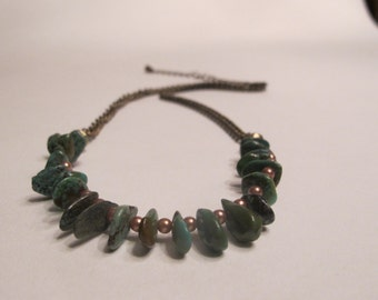 torquoise and bronze beaded necklace