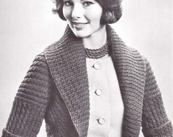Knitted Sweater Knit Hug Me Tight Bolero Shrug Shortie Sweater Vintage Knitting Sizes 32-40 Pattern Instant Download
